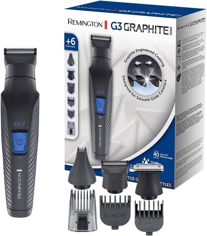 Remington G3 Graphite Series PG3000 - Set Recortador de Barba y Cortapelos, 6 Accesorios, Inalámbrico, Revestimiento de Grafito, para Vello Facial y de Nariz, Negro