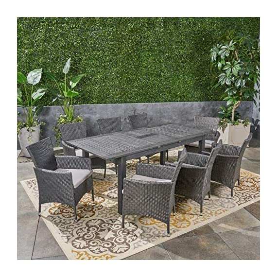 Great Deal Furniture Austin Outdoor 9 Piece Wood and Wicker Expandable Dining Set, Dark Gray and Gray and Silver - If you're going to invest in a fine place for you and your loved ones to dine outdoors, you may as well allow room for your family to grow. This expandable dining set seats eight and the adjustable table allows you to customize its dimensions to accommodate not only new friends and relatives but also larger meals and other activities that may call for just a bit more space. Includes: One (1) Dining Table and Eight (8) Chairs. Table Material: Acacia Wood. Chair Material: Polyethylene Wicker. Chair Frame Material: Iron. Cushion Material: Water Resistant Fabric. Composition: 100% Polyester. Table Finish: Gray. Wicker Finish: Dark Gray. - patio-furniture, dining-sets-patio-funiture, patio - 61Cqzb0LT%2BL. SS570  -