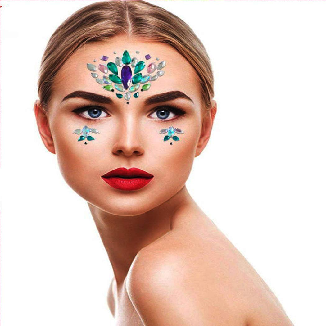 Ludress Temporary Glitter Crystal Face Stickers Sparky Body Jewels Stickers Temporary Tears Makeup Decoration for Festival Party