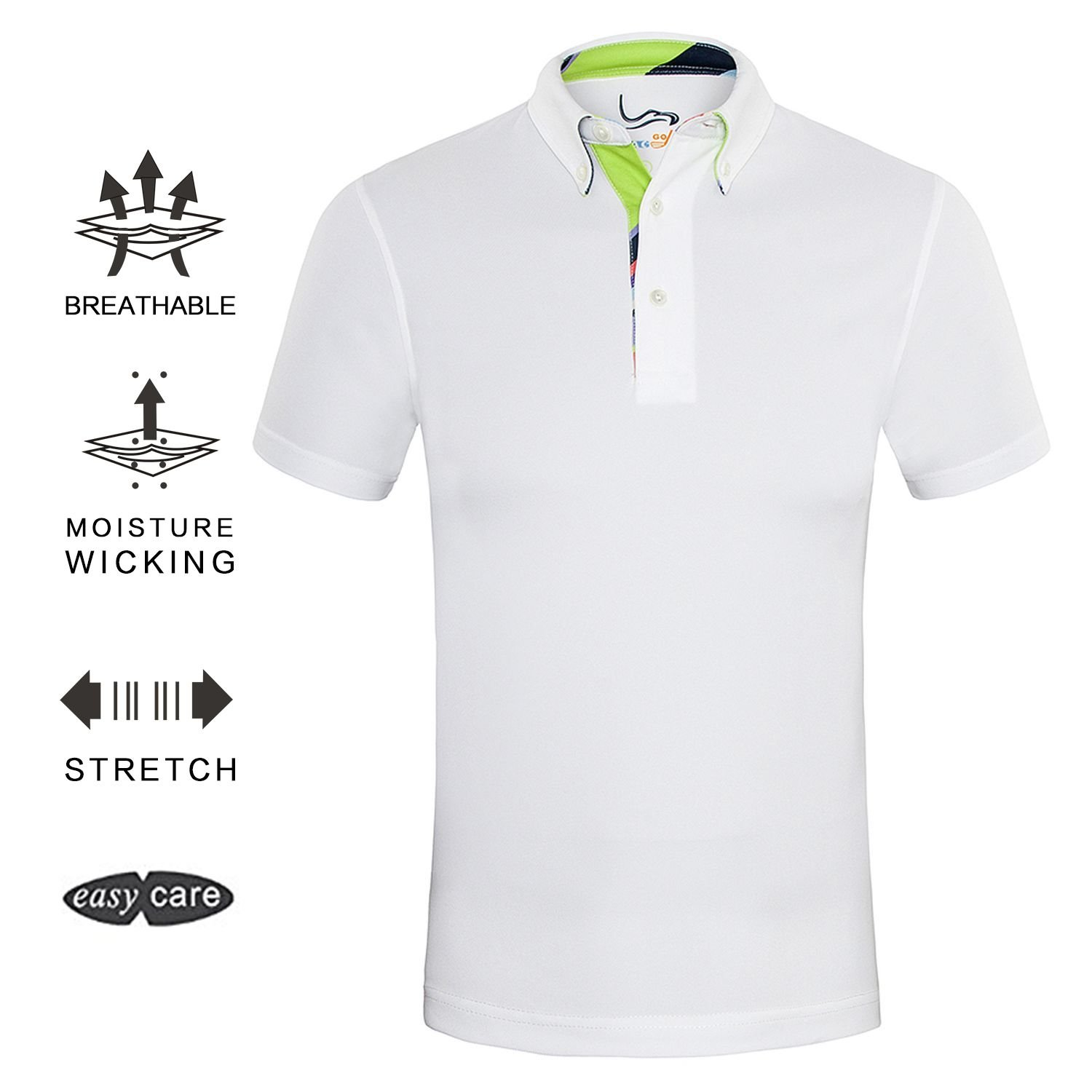 EAGEGOF Men\u0027s Shirts White Short Sleeve Tech Performance Golf Polo Shirt  Loose Fit X-Large