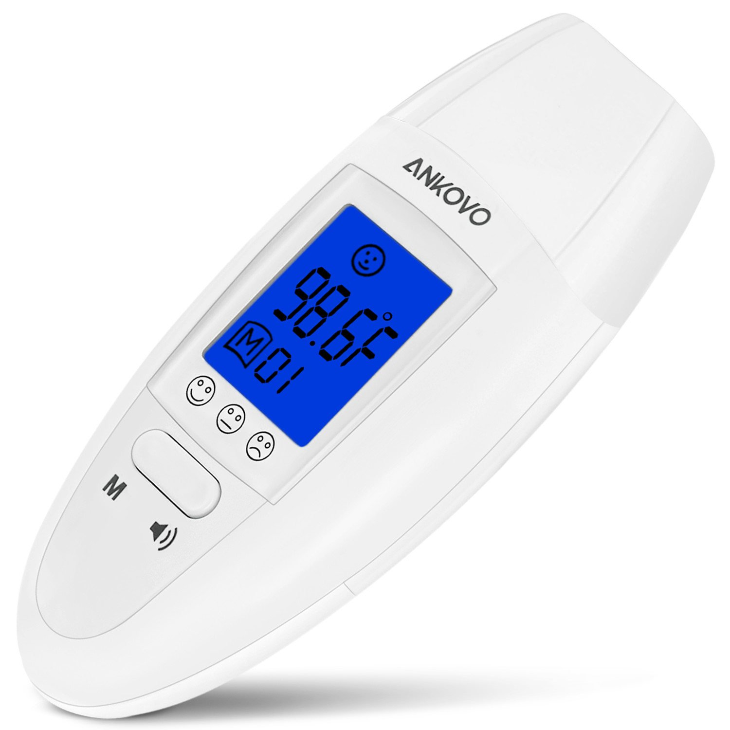 ANKOVO Medical Digital Forehead and Ear Thermometer with Fever Health Alert Clinical Monitoring System for Baby Child and Adult CE and FDA Approved