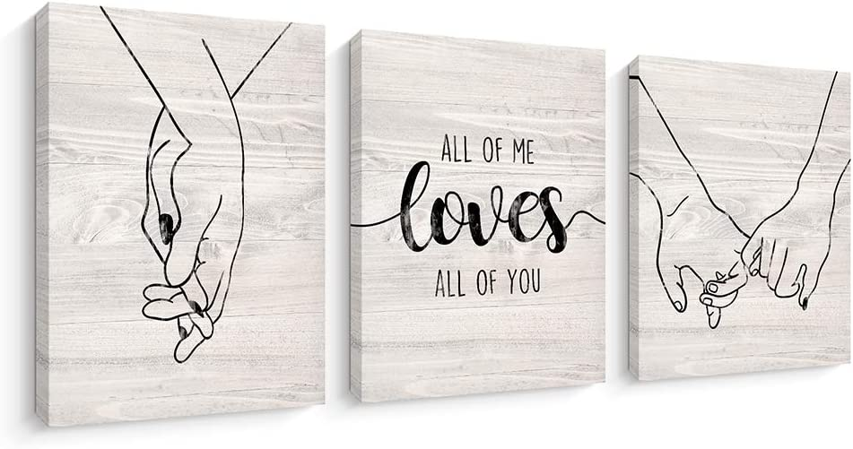 Canvas Wall Art Decor for Bedroom Living Room, Love and Hand in Hand Canvas Prints Artwork Home Decoration, Stretched and Framed Ready to Hang (12X16 Inch,Beige)