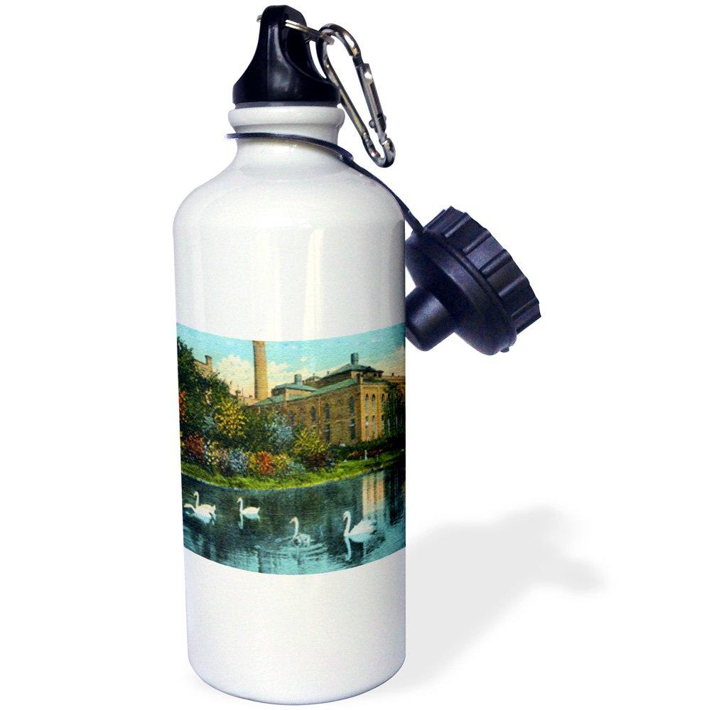 3dRose WB 41554_ 1Elefante de Circo de Vintage Deportes Botella de Agua, 21oz, Blanco 21oz wb_41554_1