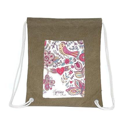 Xuxuou Bolsa con Cordón de Lienzo Patrón Simple de Flor y Pájaro Mochila para Escuela,