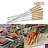 BBQ Skewer - 10 Pieces Steel Metal BBQ Barbecue Skewer Grill Kebab Needles Stick Wooden Handle Kitchen Needle Outdoor