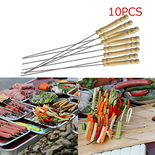 BBQ Skewer - 10 Pieces Steel Metal BBQ Barbecue Skewer Grill Kebab Needles Stick Wooden Handle Kitchen Needle Outdoor by Unknown
