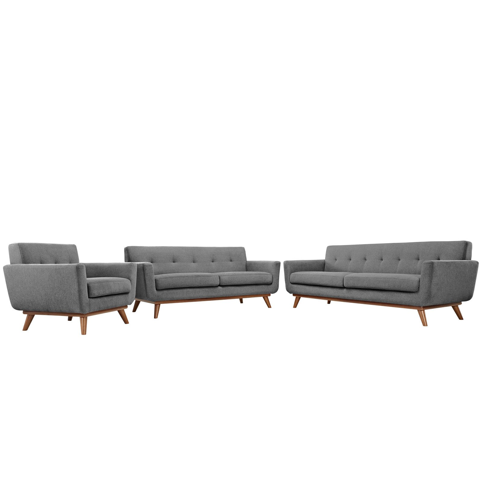 Modway Engage Mid-Century Modern Upholstered Fabric Sofa, Loveseat and Armchair, Set of 3 in Expectation Gray by Modway