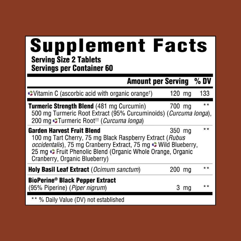 MegaFood – Turmeric Strength for Whole Body, Curcumin Support for a Healthy Inflammation Response with Tart Cherry and Holy Basil Leaf, Vegetarian, Gluten-Free, Non-GMO, 120 Tablets
