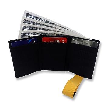 Billetera de Nailon para Hombres Ultra Delgada de Plegado Triple con Bloqueo RFID - Capacidad para hasta 12 Tarjetas de Crédito: Amazon.es: Equipaje