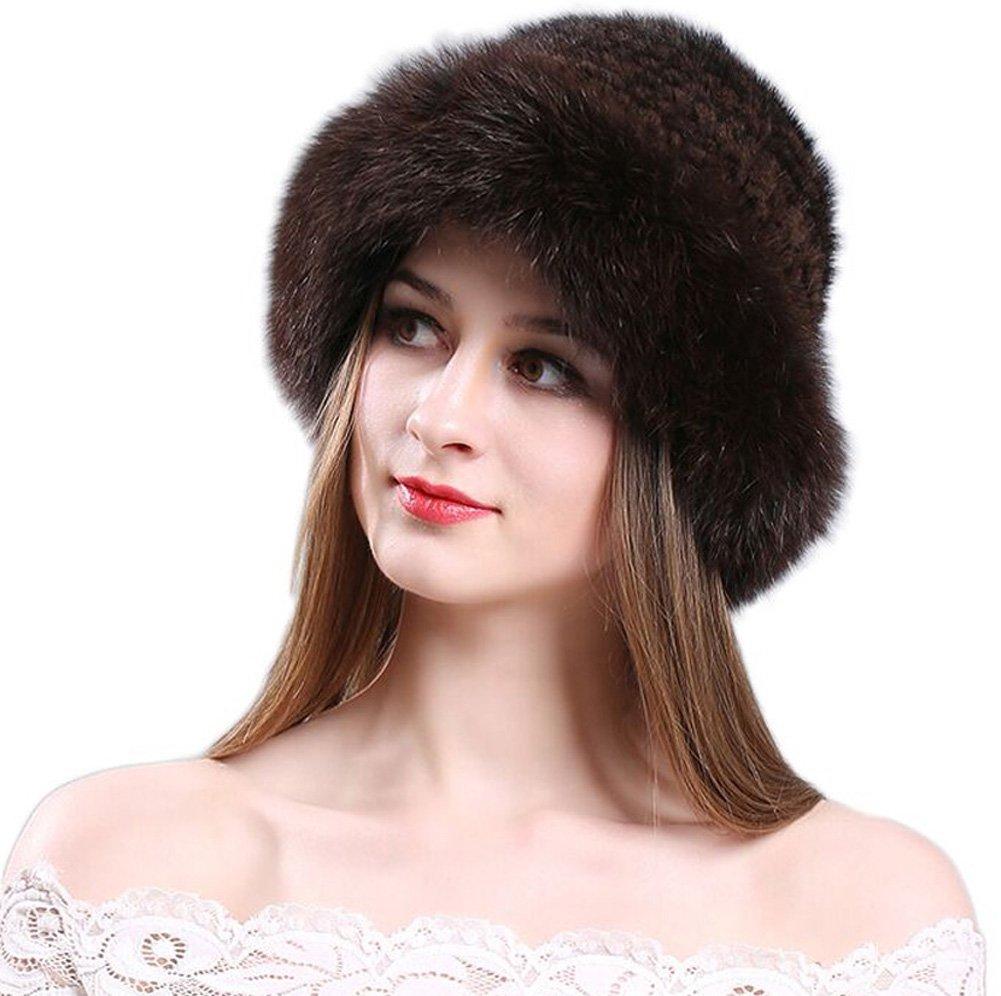 Women Winter Mink Fur Bucket Hats Roller Knitted Cap Fox Fur Brim Hat