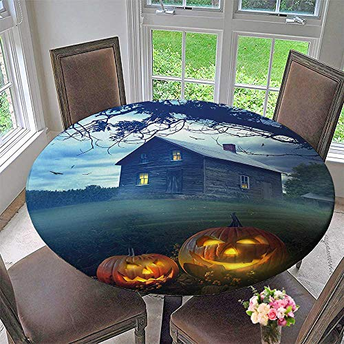 (Round Premium Tablecloth Haunted in Misty Valley with Scary Pumpkins in The Dawn Stain Resistant 67