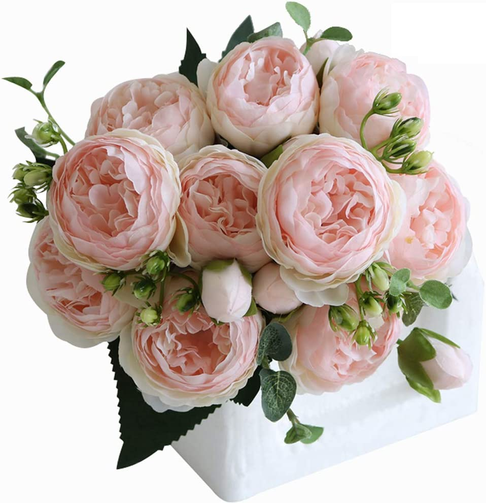 Stylish14 Peonies Artificial Flowers Silk Peony Arrangement Bouquet for Wedding Centerpiece Room Office Party Home Decoration Elegant Vintage Peonies Flowers (2Packs-Pink)