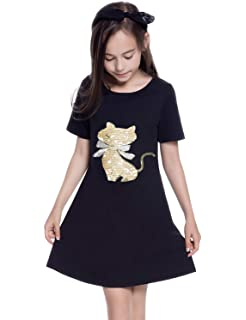 Girl Short Sleeve Casual Dress Change Sequin Basic Tunic T Shirt Dresses Summer Cotton Outfit
