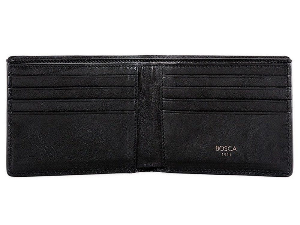 Bosca Men's Washed Collection 8 Pocket Deluxe Executive Wallet (Black, 8 D(M) US)