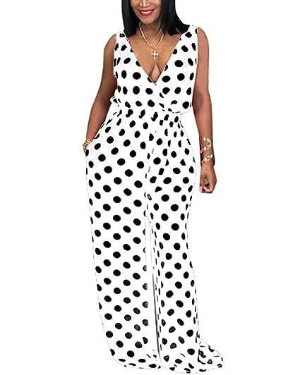 b6accb94777 Womens Sleeveless Plunge V Neck Polka Dot Print Flare Bell Bottom Loose Leg  Pants Jumpsuit Rompers