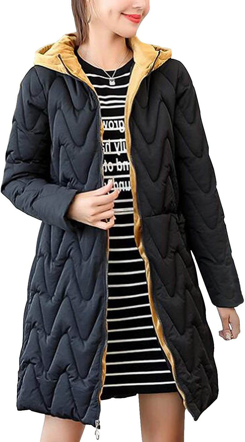 D.B.M Womens Winter Slim Thickening Hooded Fake Two-Piece Cotton Jacket