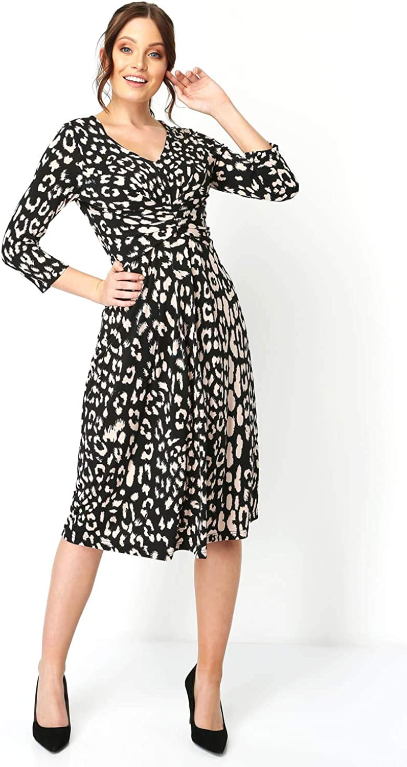 Roman Originals Womens Animal Print Fit and Flare Dress Ladies Leopard V-Neckline Ruched Waist Formal Occasion Smart Casual Everyday Evening Wear Gathered Tea Dresses