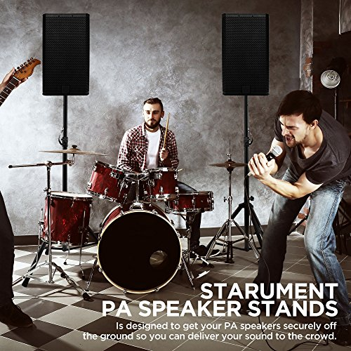 Pa Speaker Stands Pair Pro Adjustable Height with 50 Cable Ties Kit To Secure Cable to stand (2 Stands) 6ft Tripod Speaker stands by Starument - Image 3