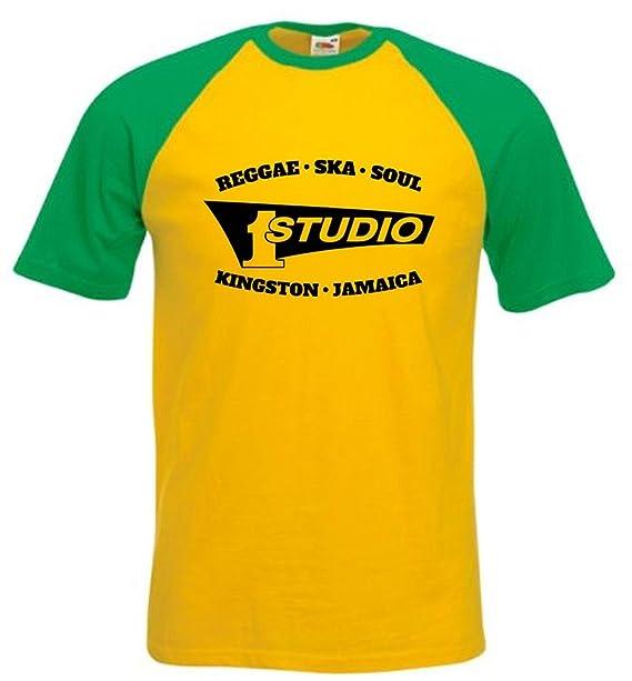 Studio 1 registros - Soul Reggae Ska Kingston, Jamaica camiseta de béisbol todos los tamaños pequeñas XXL Sunflower/Green Trim M: Amazon.es: Ropa y ...