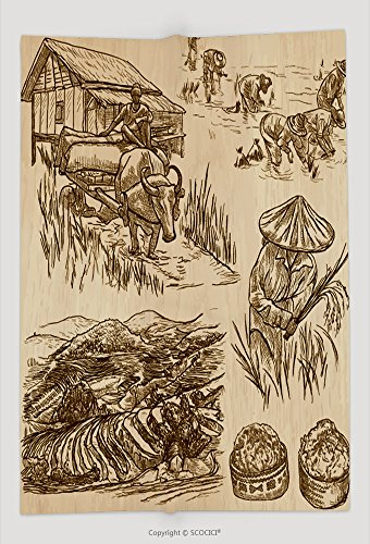 Custom Throw Blanket Agriculture Life Of A Farmer Rice Crop Collection Of Hand Drawn Vector Illustrations Set Of 468493889 and Comfortable (Rice Farmer Halloween)