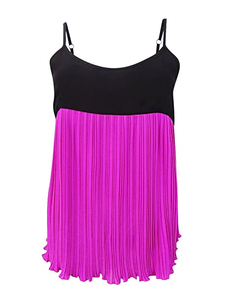 e0070b6756acad Image Unavailable. Image not available for. Color  INC Womens Colorblock  Pleated Tank Top Pink XXL