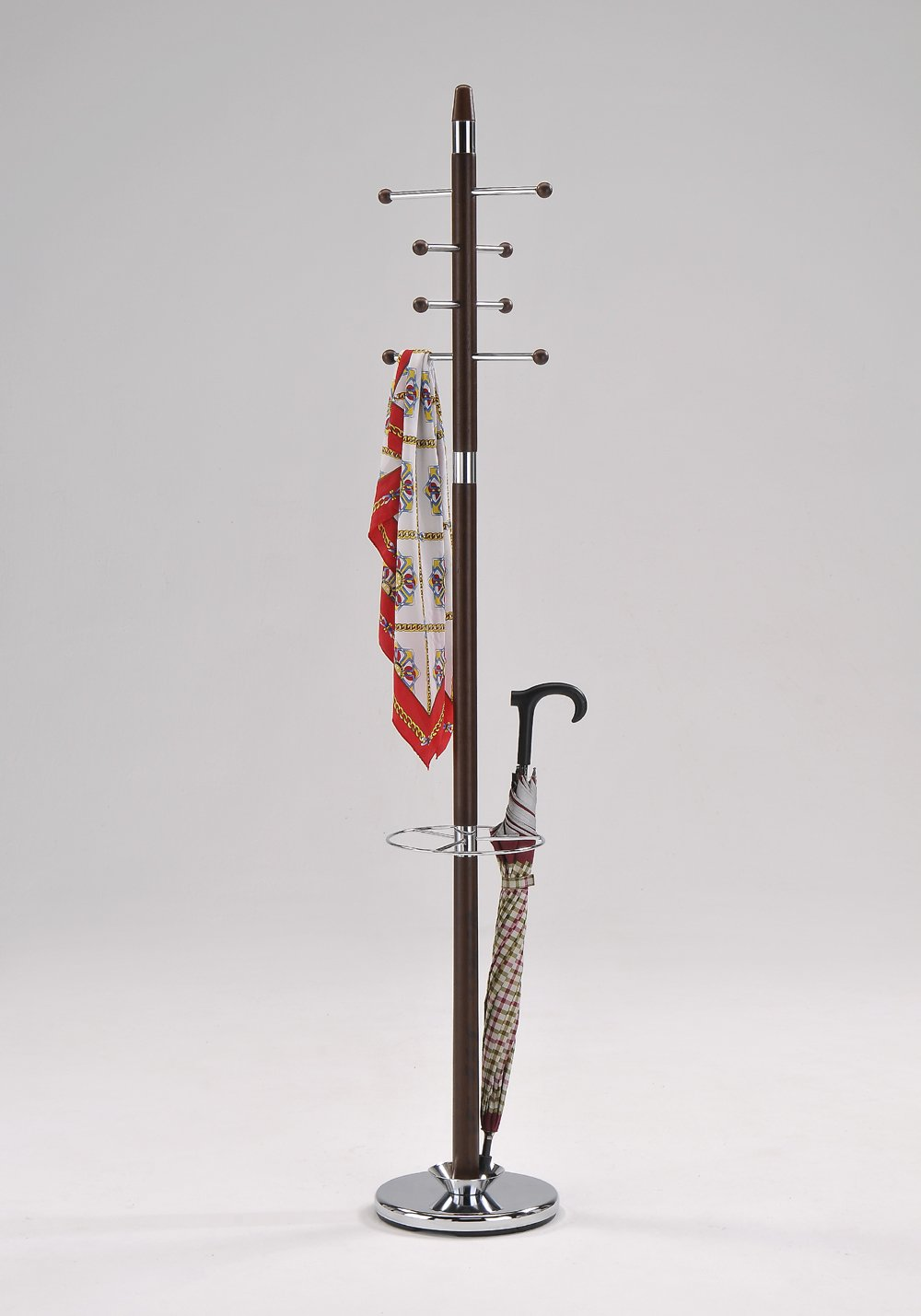 Kings Brand Walnut/Chrome Finish Coat Rack & Hat Stand With Umbrella Holder King's Brand CH-4397
