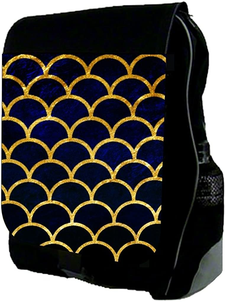 Navy Grunge Gilded Scallops TM School Backpack