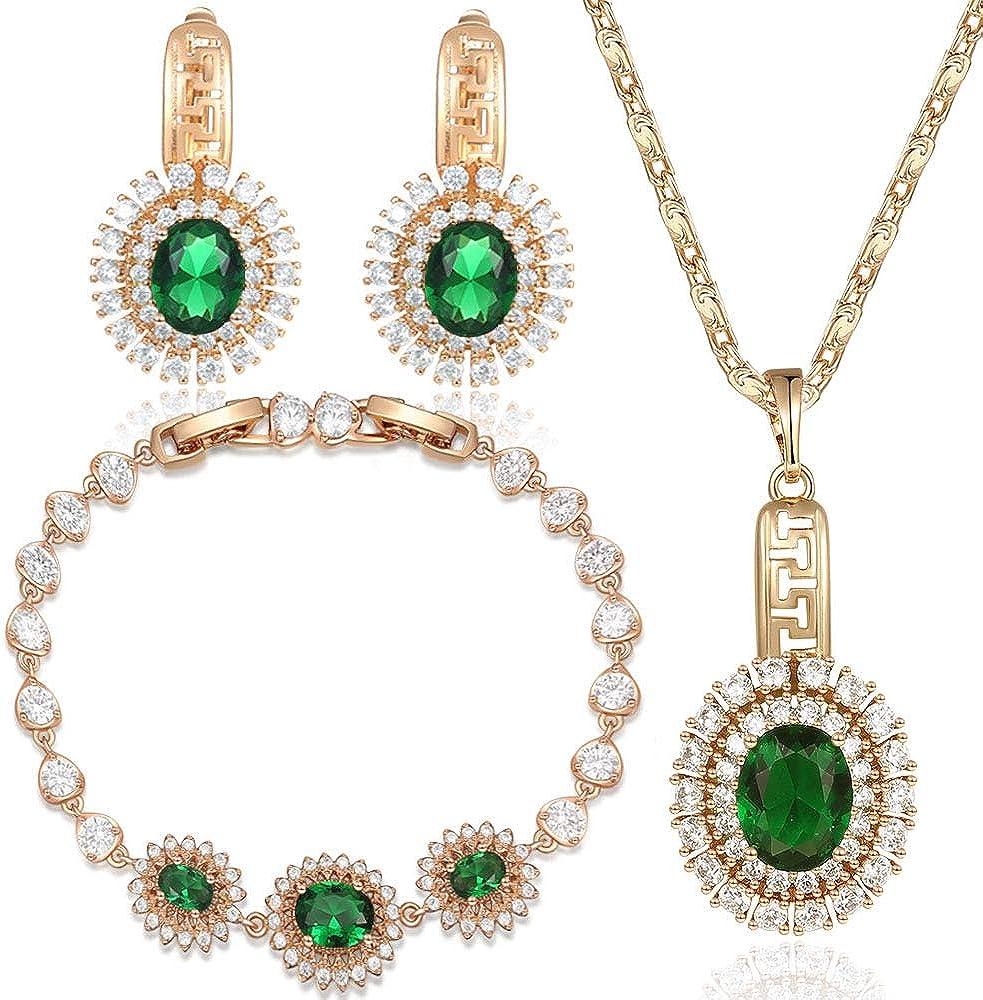 Reiko Juegos De Joyas para Mujer, 5 Colores Disponibles, Arte Deco, Circón Chapado En Oro, Colgante Collar Y Aretes Y Pulsera,