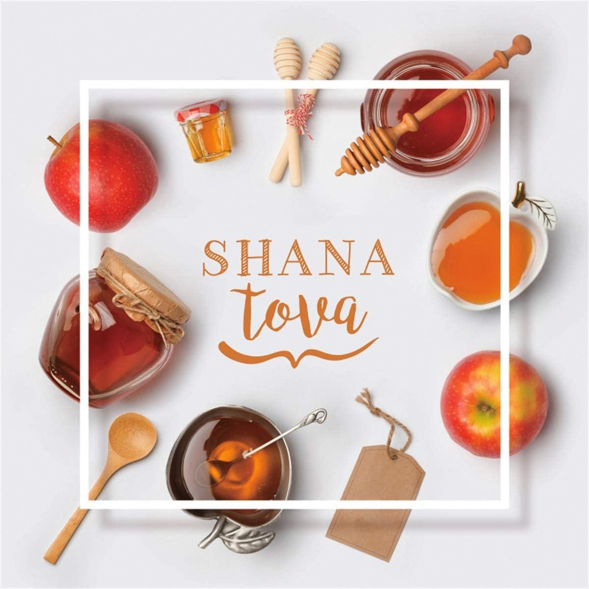 YEELE 10x10ft Shana Tova Backdrop Jewish Holiday Rosh Hashana Honey and Apple Photography Background Jewish New Year Holiday Photoshoot Props Artistic Portrait Wallpaper