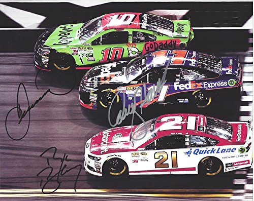 3X AUTOGRAPHED Danica Patrick / Denny Hamlin / Ryan Blaney 2015 Daytona International Speedway (#10 GoDaddy - #11 FedEx - #21 Motorcraft) On-Track Racing Signed 8X10 Picture NASCAR Photo with COA