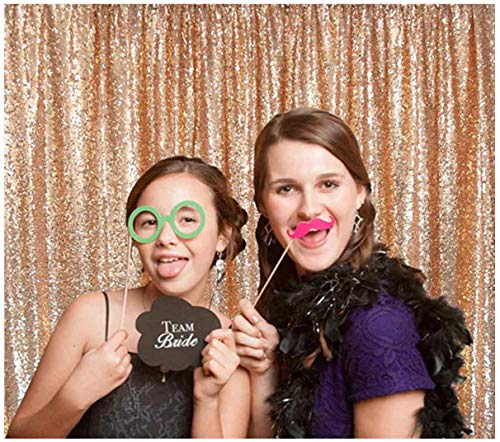 ShiDianYi-Rose Gold-Sequin BACKDROP-8FTx10FT Sequin Photo Backdrop,Photo Booth Background,Sequence Christmas Backdrop Curtain (Rose Gold)