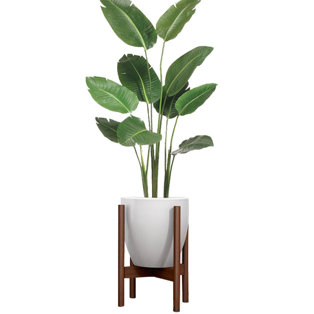 Simple Mid Century Floor Plant Stand - Solid Wood Indoor Flower Pot Holder - up to 8.5 inch Planter - Modern Home Decor(Pot Not Included) (Walnut Color)