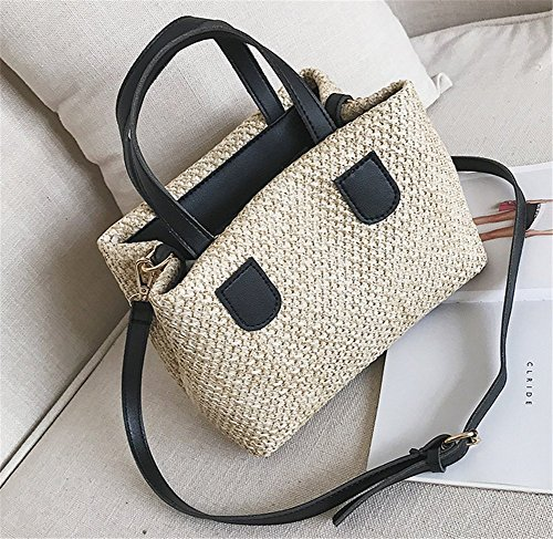 Color Bag Student Fashion Rrock Tote Women's Bag Colors Shoulder Knitted Black Package Contrast Handbags Diagonal Hand Four nxYqUqwI8F