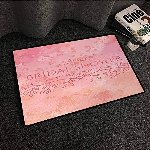 DILITECK Interior Door mat Bridal Shower Bride Invitation Grunge Abstract Backdrop Floral Design Print Super Absorbent mud W35 xL47 Light Pink and Salmon