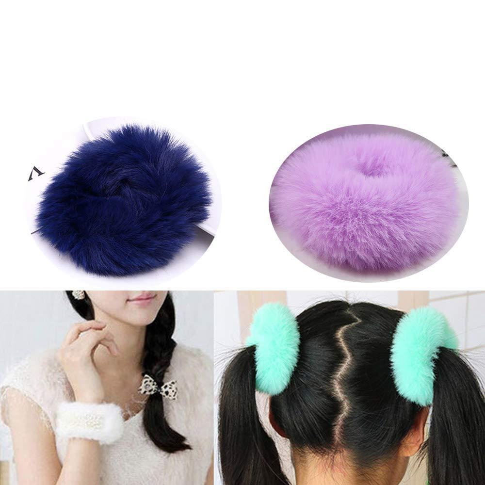 Real Mink Fur Fuzzy Puffs Pom Poms Headband Women Hairpiece Genuine Fur Fur Hair Band