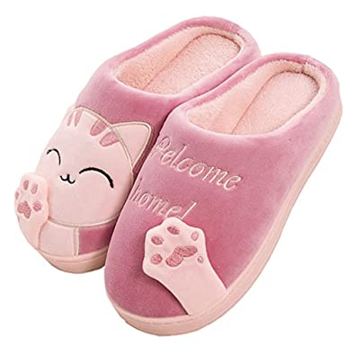 JACKSHIBO Damen Hausschuhe, Herren Winter Warme Pantoffeln Kuschelige Cartoon Cat Plüsch Hausschuhe Home Slippers,Braun,EU44/EU45
