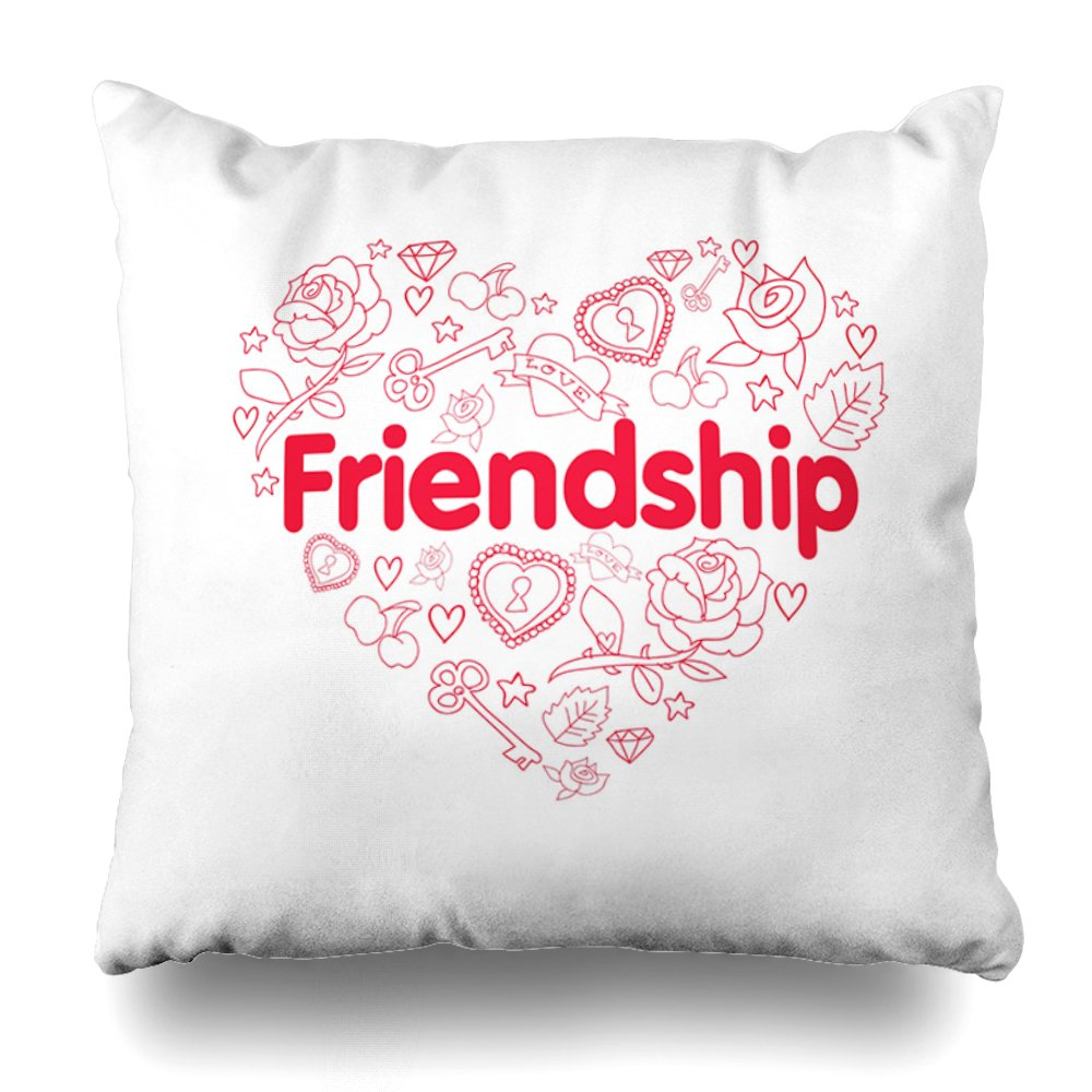 ONELZ Friendship is A Million Things Cute Quote Square Decorative Throw Pillow Case, Fashion Style Zippered Cushion Pillow Cover (20X20 inch)
