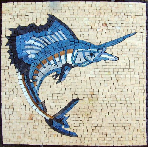 Sword Fish Mosaic Marble Hand Made Tiles Stone Pool Wall Mural Art Decor