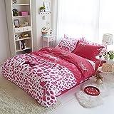 Sisbay Victoria's Secret Pink Leopard Bedding Queen Size,Girls Fashion Print Duvet Cover,Modern Cotton Fitted Sheet,4PC