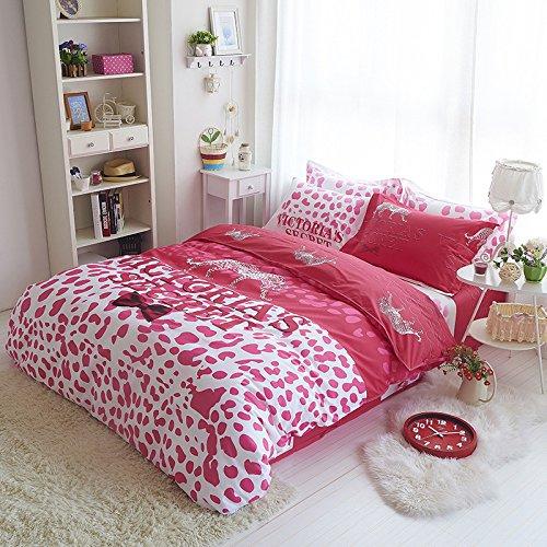 Sisbay Victoria's Secret Pink Leopard Bedding Full Size,Girl