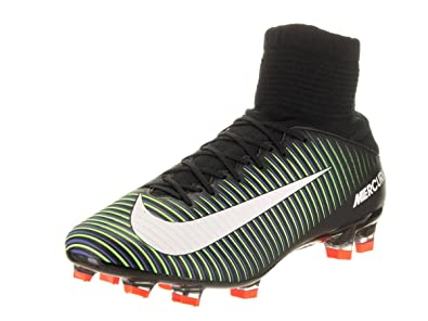 NIKE Men's Mercurial Veloce III DF FG Black/White/Electric Green Soccer  Cleat 9.5