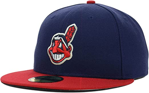 New Era Cleveland Indians Fitted Baseball Hat MLB 59Fifty Flat Bill Caps