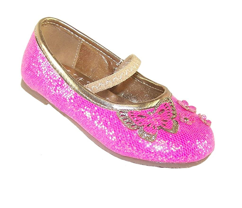 55c424762f06 Amazon.com | Sparkle Club Girls' Hot Glitter Party Pink Synthetic Flats- Shoes 5 | Flats