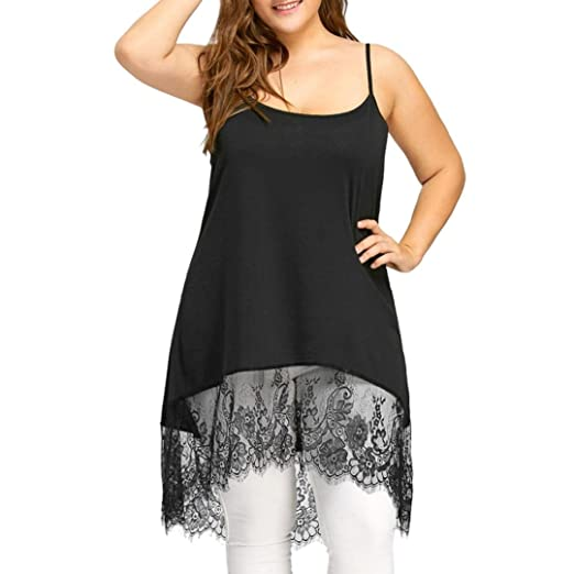 297b10f241c Singleluci Women s Sexy High Low Lace Camisole Panel Tank Tops Long Vest Plus  Size (Black