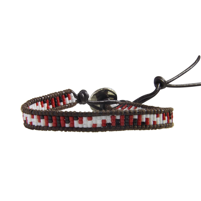 KELITCH Natural Beaded Single Wrap Bracelet on Leather Handwoven New Charm Cuff Jewelry AZ1W-1503K