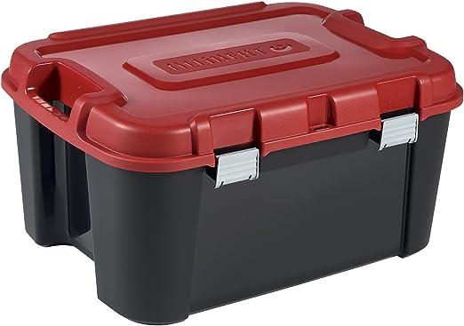 Allibert 229230 Totem - Caja de Almacenamiento con 4 Ruedas, plástico 79,7 x 59,7 x 40,79 cm, 140 l, Color Negro y Rojo: Amazon.es: Hogar