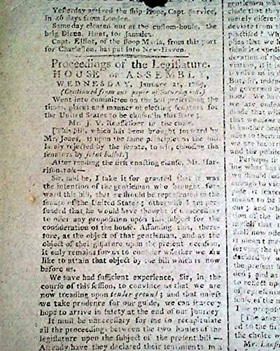 New York City Nations Capital Pre George Washington Inauguration 1789 Newspaper The Daily Advertiser  New York  Feb  6  1789