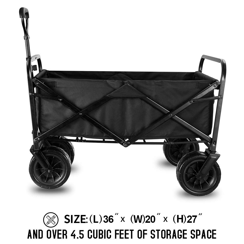 """Plus+ Standard Size WHITSUNDAY Collapsible Folding Garden Outdoor Park Utility Wagon Picnic Camping Cart with 8/"""" Bearing Fat Wheel 8 Heavy Duty Wheels, Bubbles"""