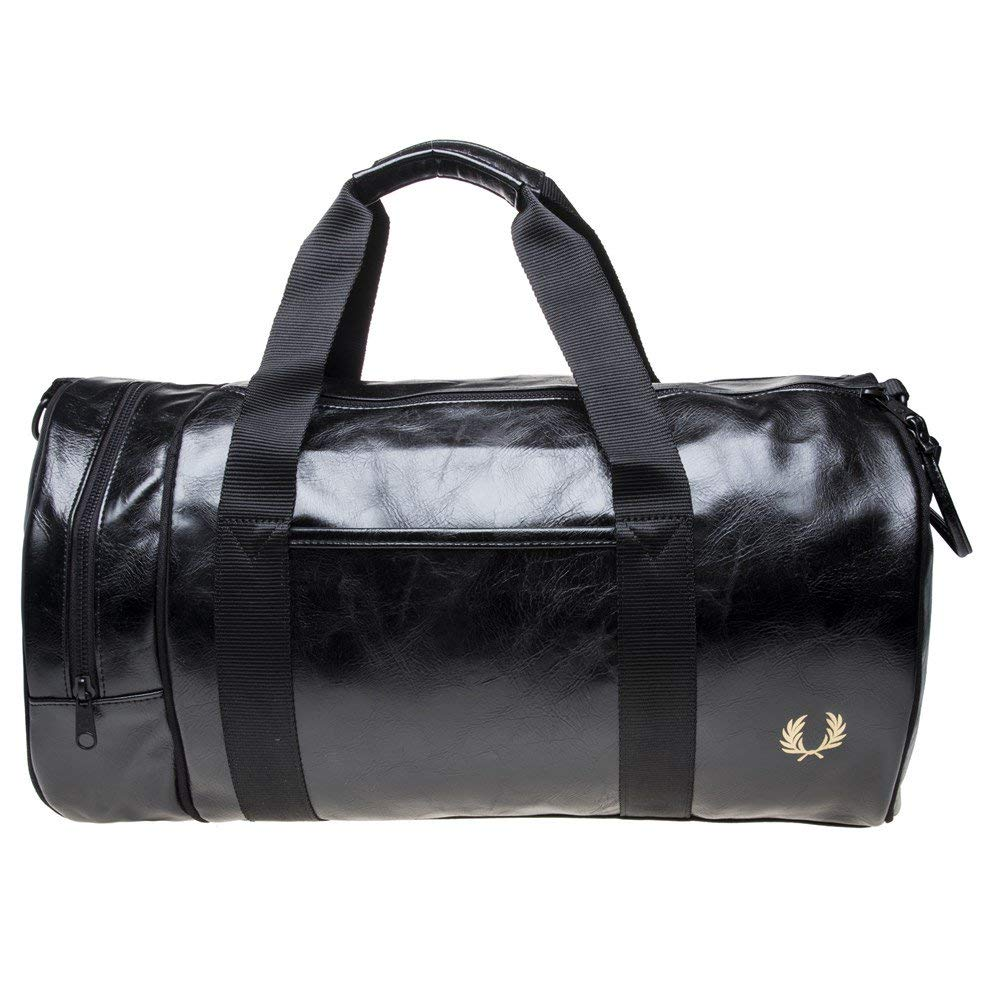 Fred Perry Men's Classic Barrel Bag One Size Black & Gold