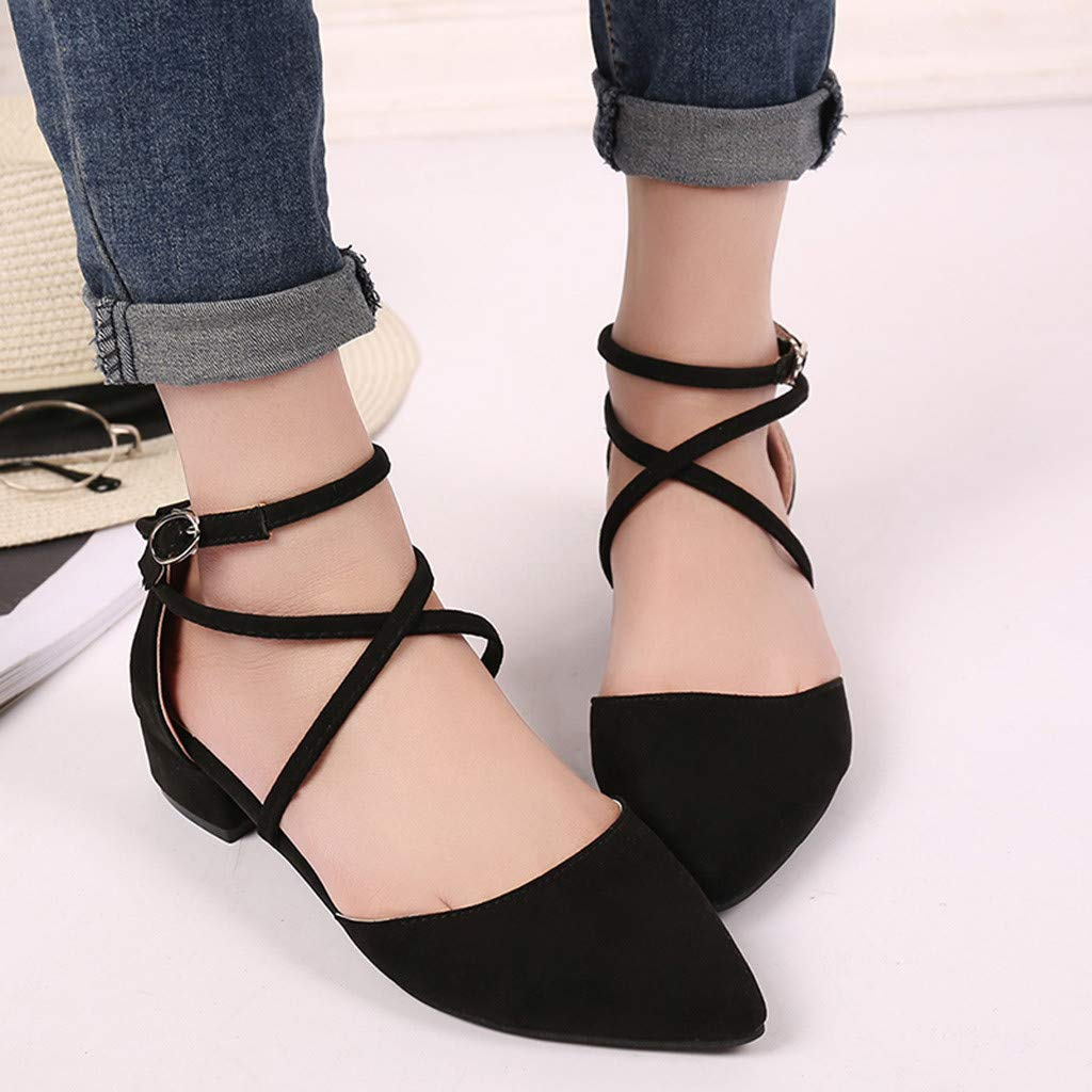 ZOMUSA Women's Fashion Casual Point Toe Buckle Strap Square Heel Sandals Med Heel Shoes Black by ZOMUSAR (Image #2)